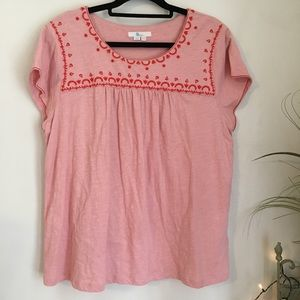 Boden Pink Embroidered Short Sleeve Peasant Top